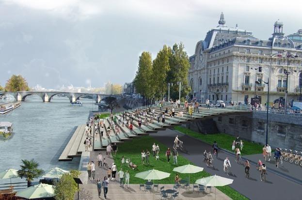 Новый линейный парк на берегу Сены