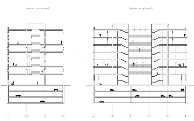 Разрезы. Вечный жилой дом. Проект Евгении Бакеевой