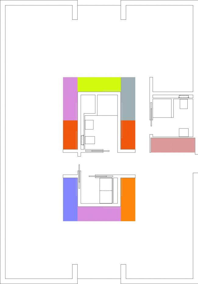 Схема наполнения пространства под собственное и арендное жилье. Трансформируемое жилье. Проект Михаила Сергеева