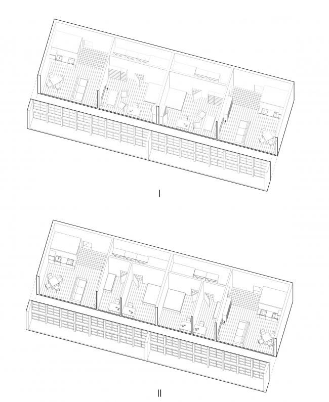 Варианты трансформации жилой ячейки. Вертикальные квартиры. Проект Дмитрия Столбового