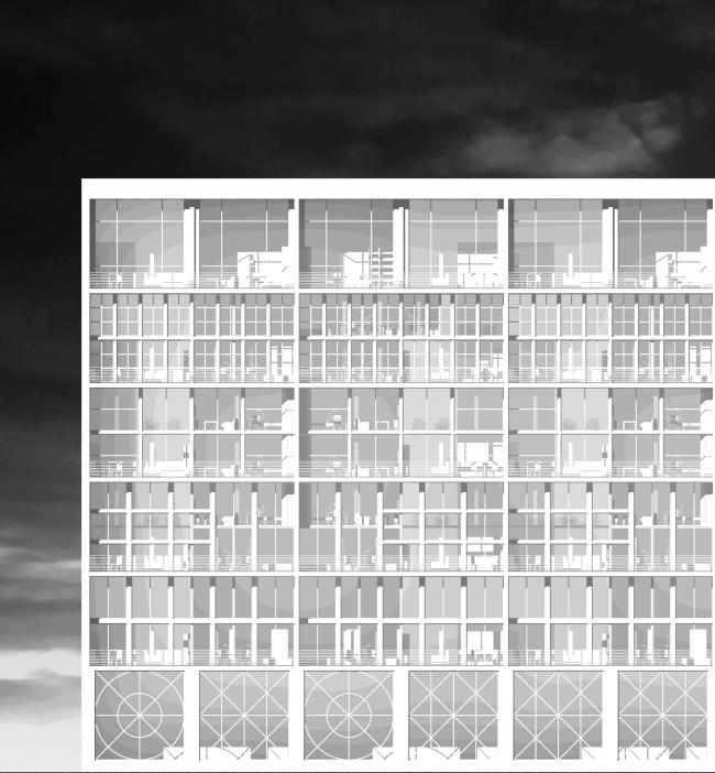 Фасад. Вертикальные квартиры. Проект Дмитрия Столбового