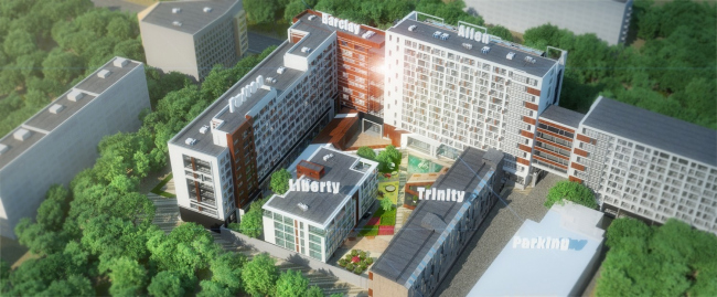 Квартал поделен на корпуса. Вид сверху. © Homeland Group