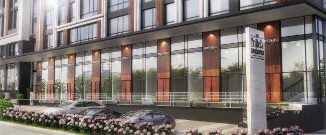 Комплекс апартаментов «TriBeCa» Витрины первых общественных этажей © Homeland Group
