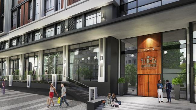 Комплекс апартаментов «TriBeCa». Витрины первых общественных этажей © Homeland Group