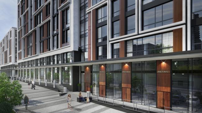 Комплекс апартаментов «TriBeCa». Фрагмент уличного фасада © Homeland Group
