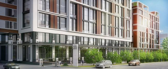 Комплекс апартаментов «TriBeCa». Уличный фасад © Homeland Group