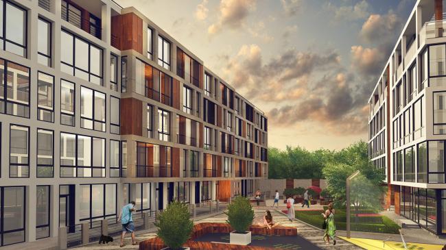 Комплекс апартаментов «TriBeCa». Внутридворовое пространство © Homeland Group