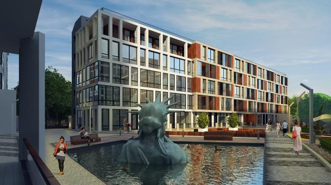 Комплекс апартаментов «TriBeCa». Пруд со статуей Свободы © Homeland Group