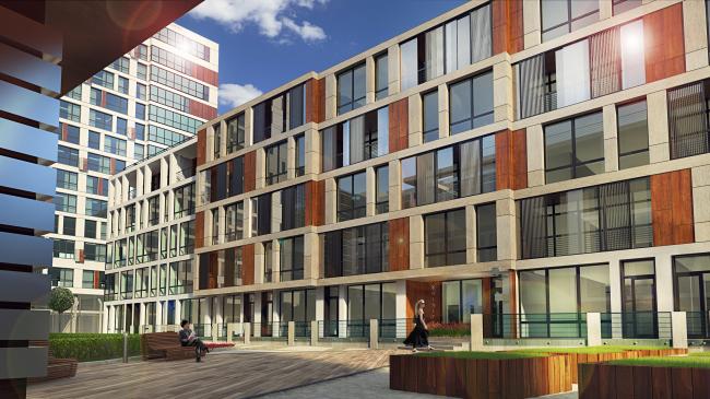 Комплекс апартаментов «TriBeCa». Отделка фасадов внутридворовых корпусов © Homeland Group