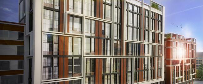 Комплекс апартаментов «TriBeCa». Фрагмент главного фасада © Homeland Group