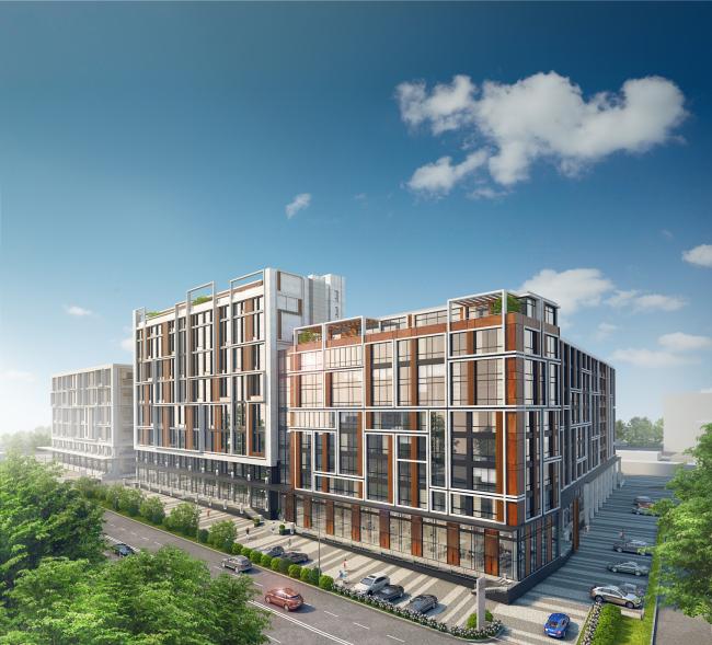 Комплекс апартаментов «TriBeCa». Вид со стороны Нижней Красносельской улицы © Homeland Group