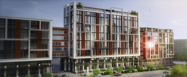 Комплекс апартаментов «TriBeCa». Вид со стороны Нижней Красносельской улицы. Главный вход во двор © Homeland Group