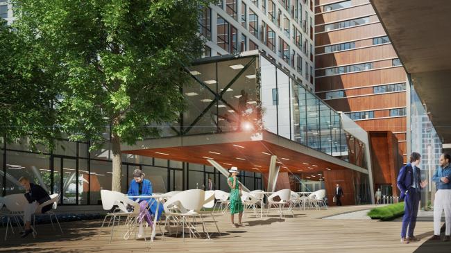 Комплекс апартаментов «TriBeCa». Дворовое пространство. Летнее кафе © Homeland Group