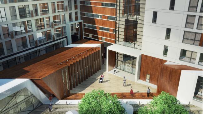 Комплекс апартаментов «TriBeCa». Вид во двор из окон апартаментов © Homeland Group