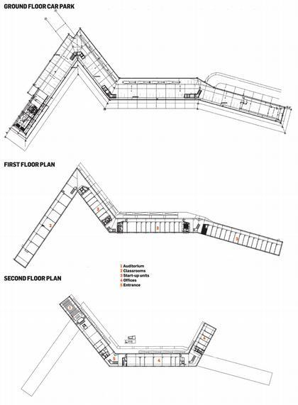 Технологический центр Ла Риоха. Планы подземного уровня, первого и второго этажей © FOA – Foreign Office Architects
