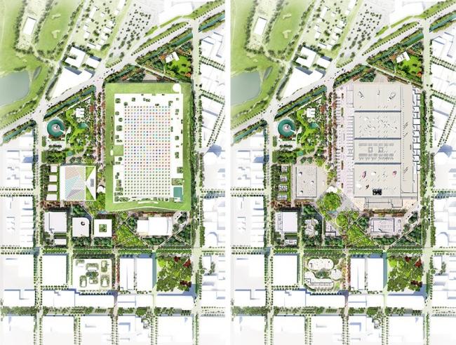 Конгресс-центр Майами-Бич после и до реконструкции. Конкурсный проект © BIG