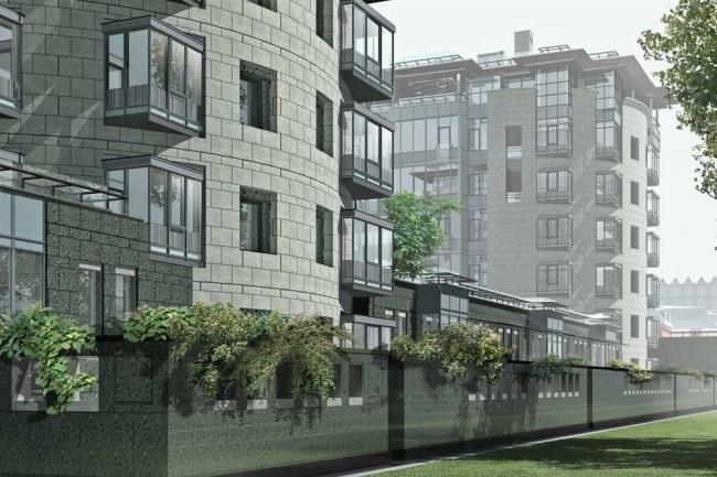 ЖК Diadema Club House, озелененная терраса стилобата (визуализация) © Архитектурное бюро «Земцов, Кондиайн и партнеры»
