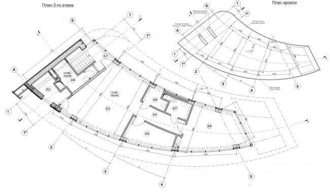 Здание КПП в поселке «Олимпийская деревня Новогорск». План © Архитектуриум