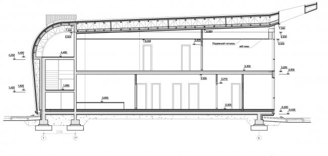 Здание КПП в поселке «Олимпийская деревня Новогорск». Разрез © Архитектуриум