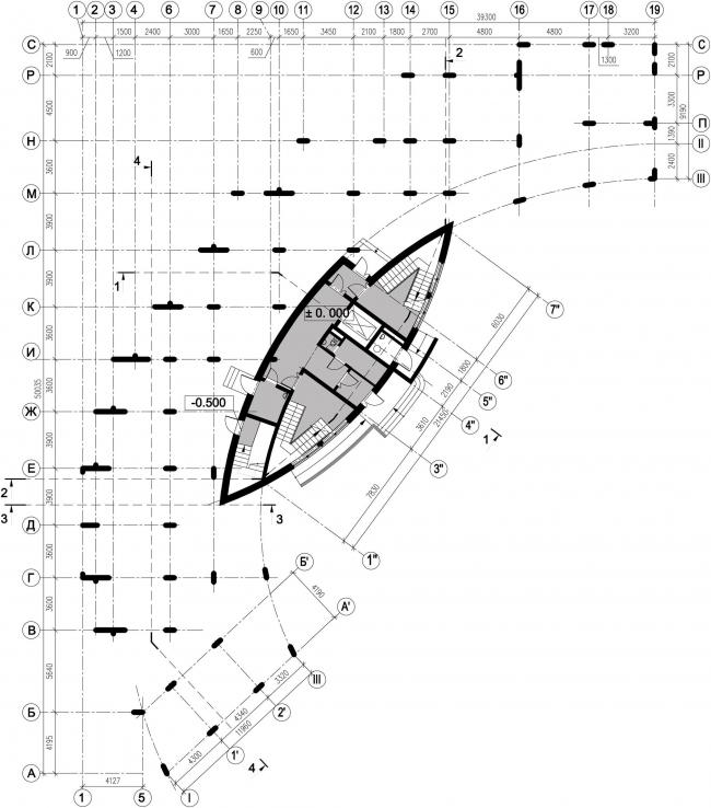 Жилой дом №27 в поселке «Олимпийская деревня Новогорск». План 1 этажа © Архитектуриум