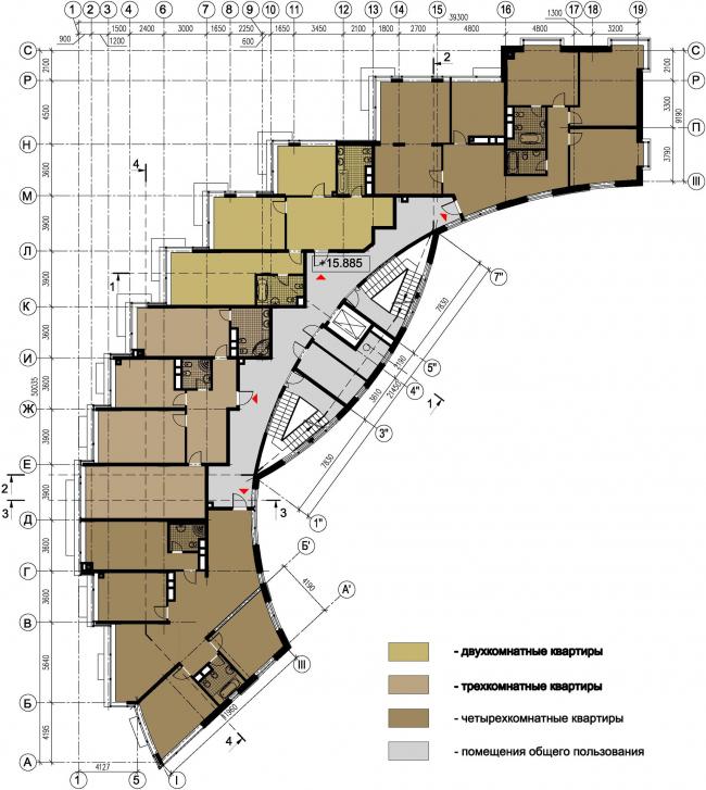 Жилой дом №27 в поселке «Олимпийская деревня Новогорск». План последнего этажа © Архитектуриум