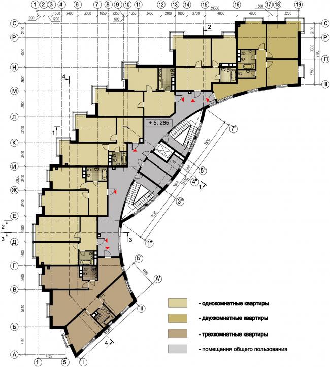 Жилой дом №27 в поселке «Олимпийская деревня Новогорск». План типового этажа © Архитектуриум
