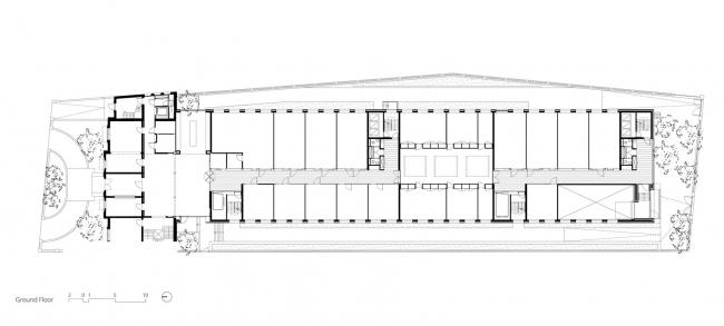 Здание реставрационных мастерских Рейксмузеума. План подземного этажа © Cruz y Ortiz Arquitectos