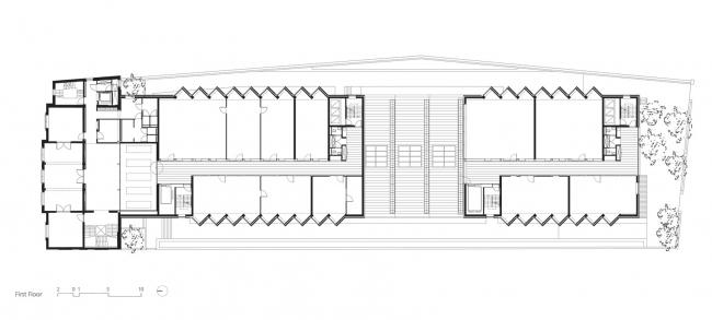 Здание реставрационных мастерских Рейксмузеума. План первого этажа. © Cruz y Ortiz Arquitectos