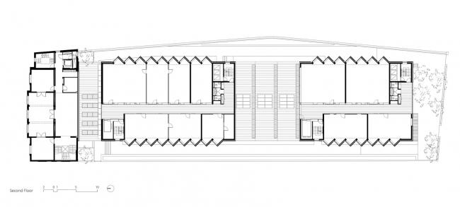 Здание реставрационных мастерских Рейксмузеума. План второго этажа. © Cruz y Ortiz Arquitectos