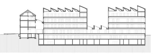 Здание реставрационных мастерских Рейксмузеума. Разрез © Cruz y Ortiz Arquitectos