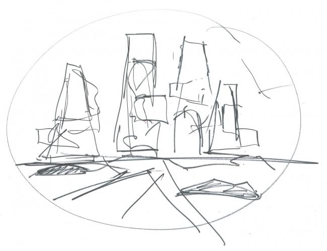Всемирный Торговый Центр «Юнцзя». Набросок Бена ван Беркеля © UNStudio