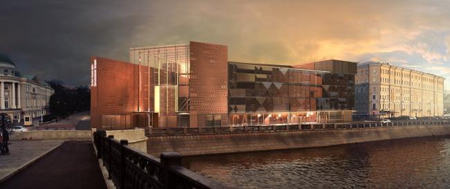 Проект фасадов Третьяковской галереи. Архитектурное бюро «Тотемент/Пейпер». Ночной вид со стороны Кадашевской набережной