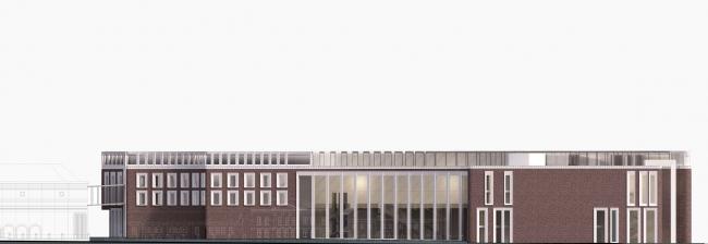 Конкурсная концепция фасадов нового здания Третьяковской галереи. Фасады по Лаврушинскому переулку