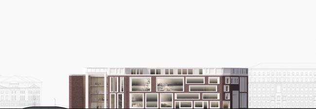 Конкурсная концепция фасадов нового здания Третьяковской галереи. Фасады по Кадашевской набережной