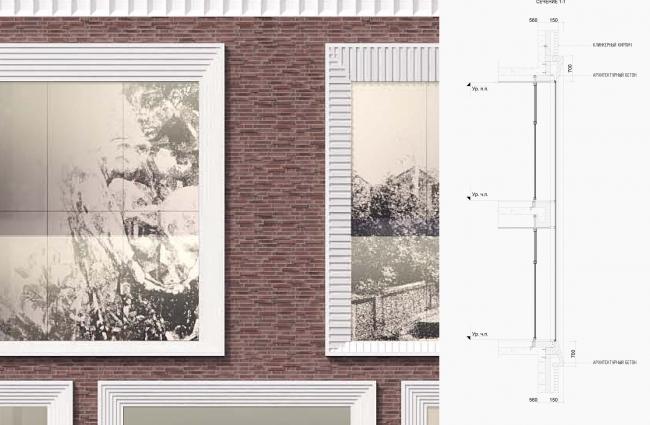 Конкурсная концепция фасадов нового здания Третьяковской галереи. Фрагмент фасада.   Архитектурная мастерская SPEECH