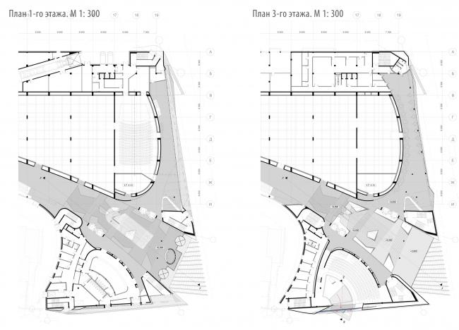 Проект фасадов Третьяковской галереи. Архитектурное бюро «Тотемент/Пейпер». Второй вариант. План первого этажа