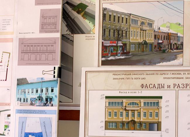 Проект размещения офисного здания на Бол. Серпуховской ул. Сравнение двух фасадов - что было (слева) и что предлагается (справа)