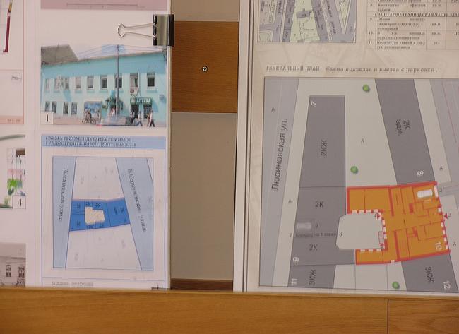 Проект размещения офисного здания на Бол. Серпуховской ул. Сравнение двух Генпланов - что есть (слева) и что предлагается (справа)