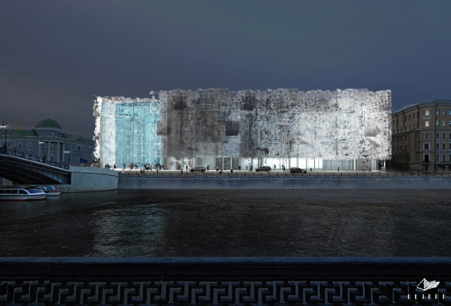 Проект фасадов Третьяковской галереи. ТПО «Резерв». Ночной вид