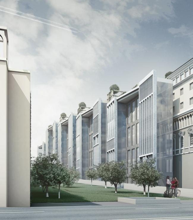 Основной вход в гостиничный комплекс с Софийской набережной. Пейзажный сад. «Студия 44»