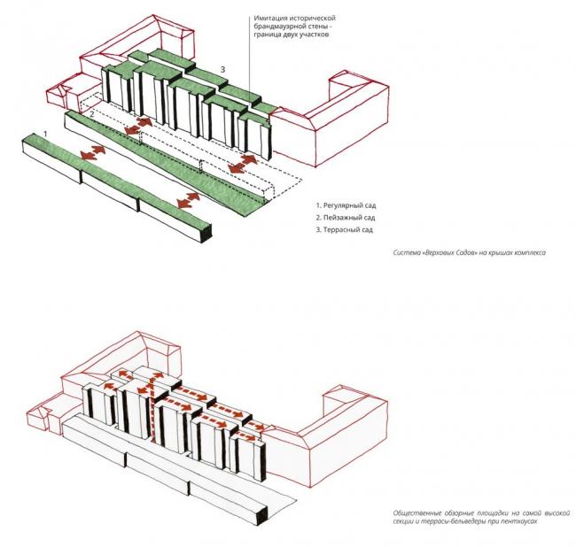 Схема озеленения кровель. Общественные и частные пространства. «Верховые сады»