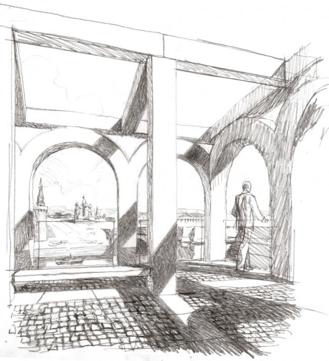 Эскизы В.И. Лемехова.  Аркады «верховых садов»
