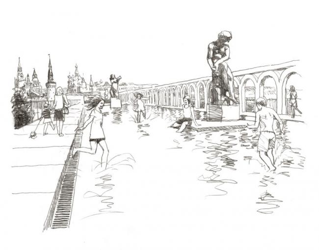 Эскизы В.И. Лемехова. «Студия 44». Регулярный сад на эксплуатируемой кровле торговых рядов