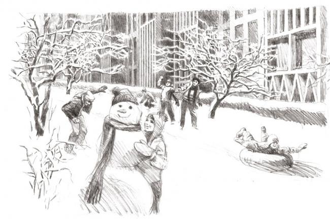 Эскизы В.И. Лемехова. «Студия 44». Пейзажный сад в разрыве между жилым и торговым корпусами