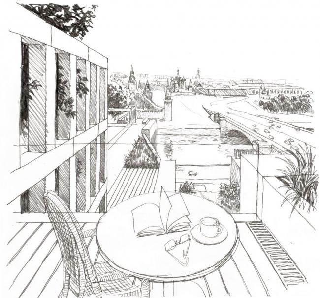 Эскизы В.И. Лемехова. Террасный сад на кровлях жилого блока