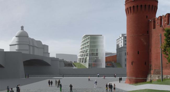 Контраст белоснежного здания с яркой терракотой Кремлевских стен. Проект мастерской «Сергей Скуратов ARCHITECTS»