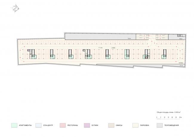 План парковки на -3 этаже. Проект мастерской «Сергей Скуратов ARCHITECTS»