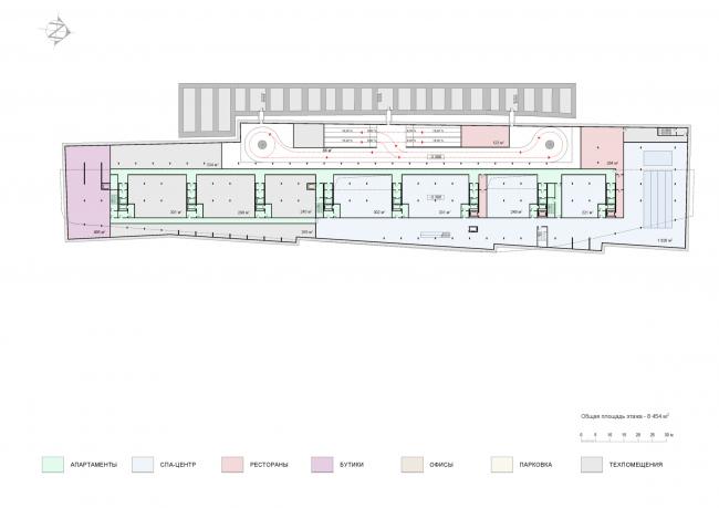 План -1 этажа с фитнес-центром. Проект мастерской «Сергей Скуратов ARCHITECTS»