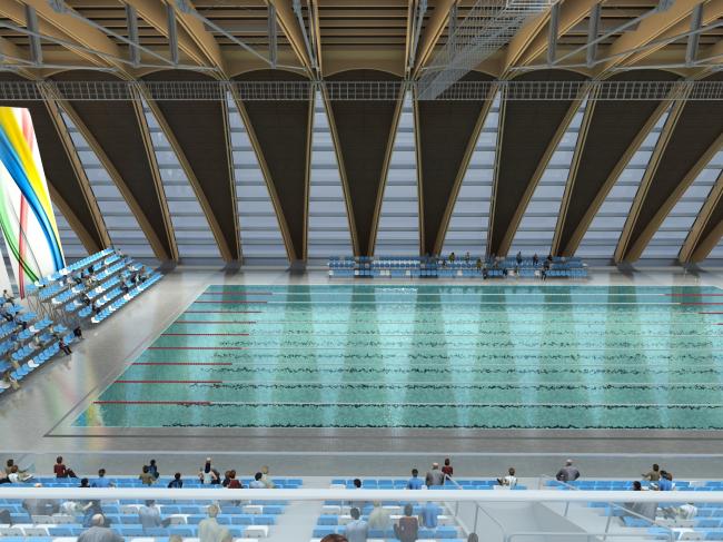 Дворец водных видов спорта в Казани. Освещение в интерьере