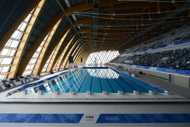 Дворец водных видов спорта в Казани. Деревянные конструкции в интерьере